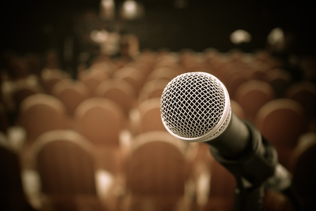 Seminar conference concept : microphones for speech or speaking  in seminar room Premium Photo