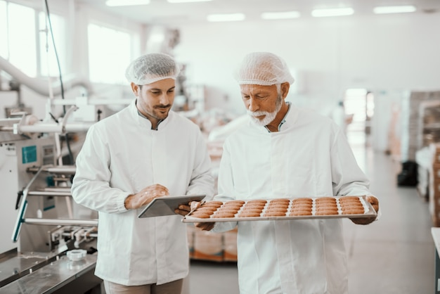 Senior adult employee holding tray with fresh cookies while supervisor evaluating quality and holding tablet. both are dressed in sterile white uniforms and having hairnets. food plant interior. Premium Photo