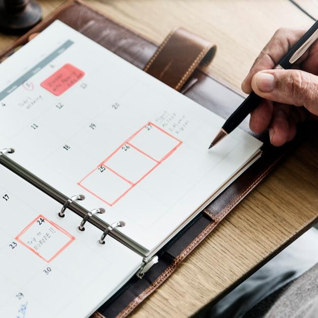 Senior adult planning agenda calendar concept Premium Photo