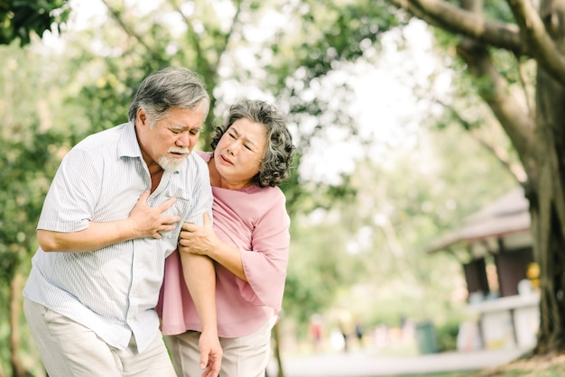 Senior asian man holding his chest and feeling pain suffering from heart attack while his wife giving support and help outdoor at the park Premium Photo
