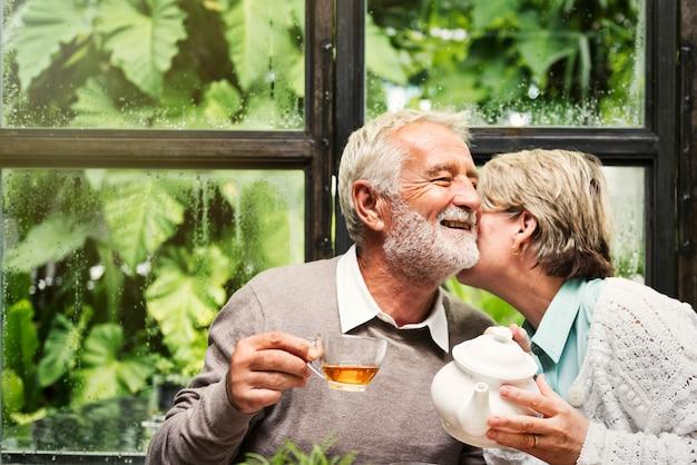 Senior couple afternoon tea drinking relax concept Premium Photo