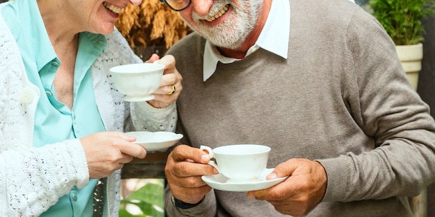 Senior couple afternoon tean drinking relax concept Premium Photo