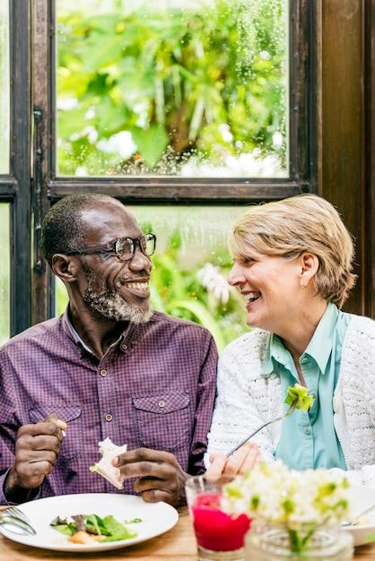 Senior couple eating happiness cheerful concept Premium Photo