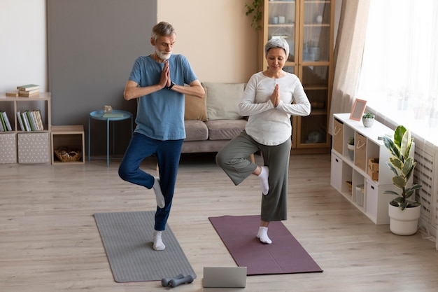 Senior couple exercising at home Free Photo