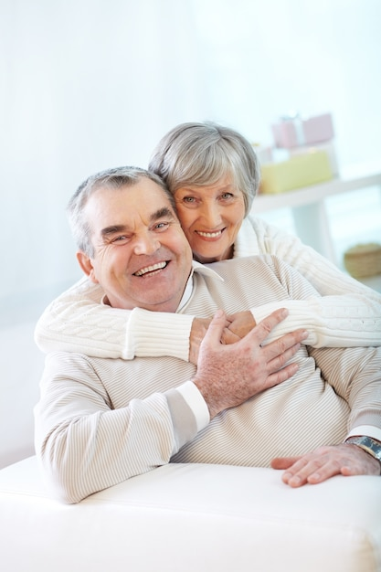 Senior couple joking and laughing Free Photo