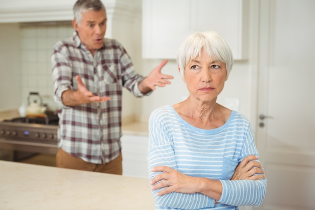 Senior couple quarrelling with each other Premium Photo