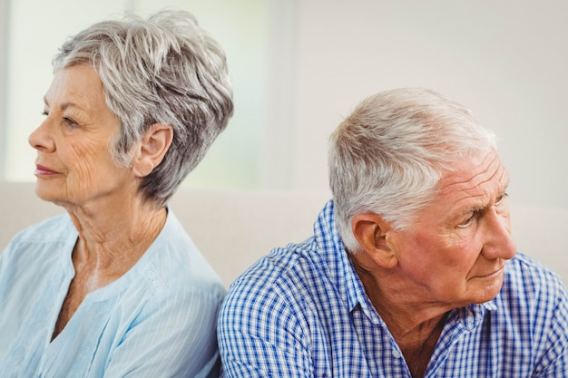 Senior couple upset with each other at home Premium Photo