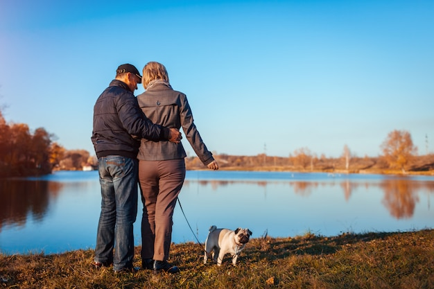 Senior couple walking pug dog in autumn park by river. happy man and woman enjoying time with pet. Premium Photo