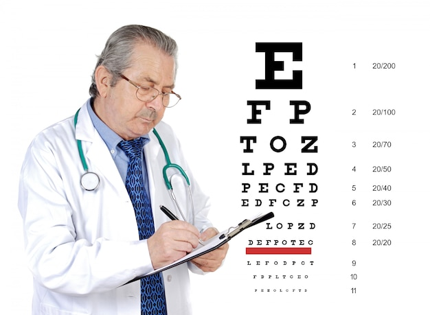 Senior oculist man reviewing the eye health of a patient Premium Photo