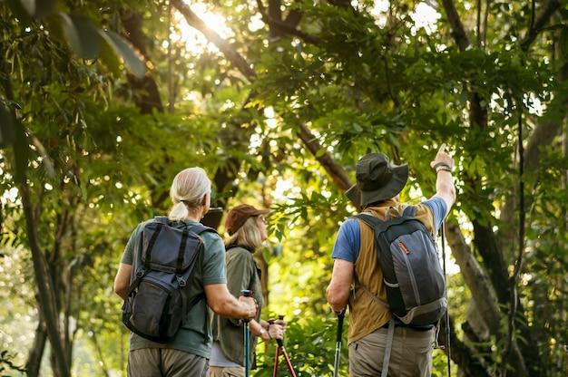 Seniors trekking in a forest Premium Photo