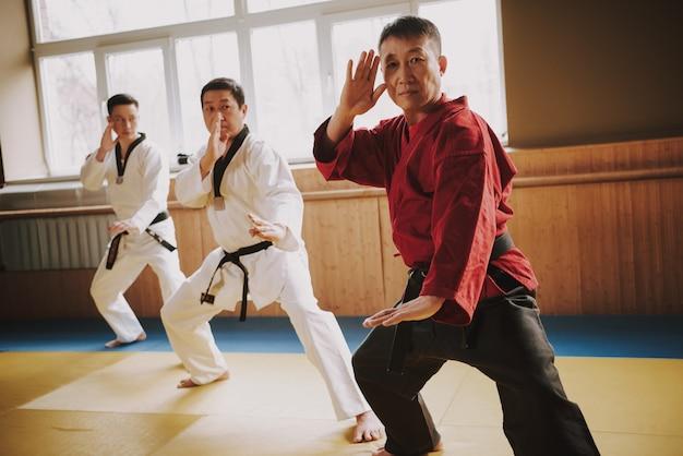 Sensei shows taekwondo stands in the gym Premium Photo
