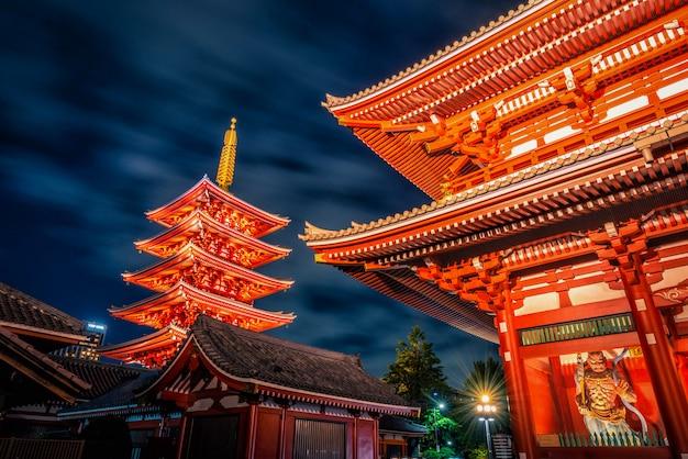 Sensoji is an ancient buddhist temple at night in asakusa, tokyo, japan. Premium Photo