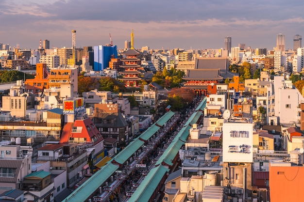 Sensoji temple view from above with sunset light evening. tokyo, japan. Premium Photo