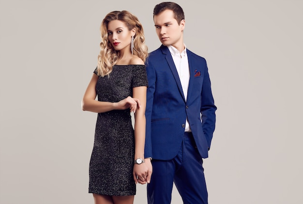 Sensual beautiful young couple dressed in formal clothes Premium Photo