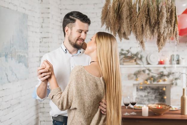 Sensual young couple dancing at home Free Photo