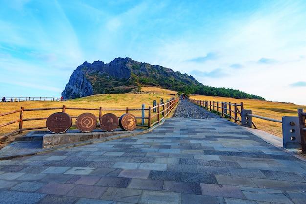 Seongsan ilchulbong, jeju island, south korea. Premium Photo