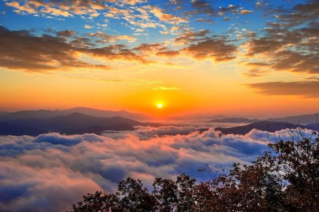 설악산 산은 서울에서 아침 안개와 일출으로 덮여 있습니다. 무료 사진
