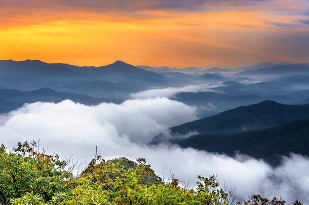 韓国、ソウルの雪岳山は朝霧と日の出に覆われています 無料写真