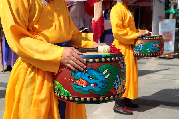 Seoul, south korea, traditional changing of the royal guard drum Free Photo