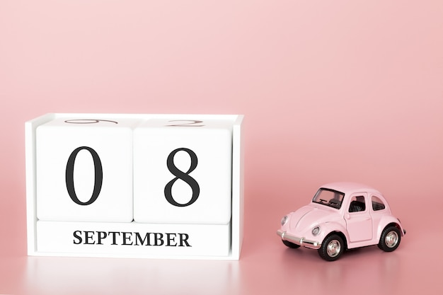 September 08th. day 8 of month. calendar cube with car Premium Photo