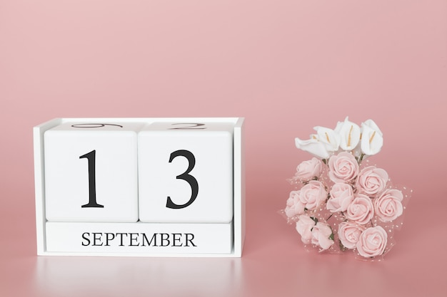 September 13th. day 13 of month. calendar cube on modern pink background, concept of bussines and an importent event. Premium Photo