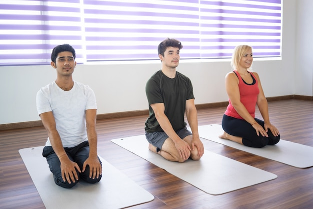 Serious beginners sitting in seiza pose on mats at yoga class Free Photo