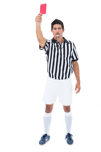 Serious referee showing red card Premium Photo