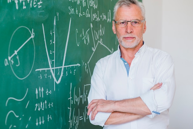 Serious teacher in glasses standing at blackboard hand on hand Free Photo