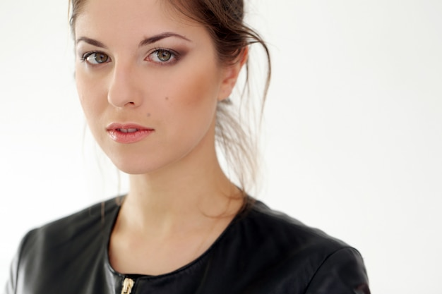 Serious woman on a white background Free Photo