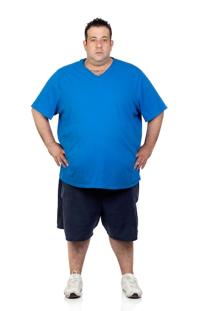 Seriously fat man isolated on white background Premium Photo