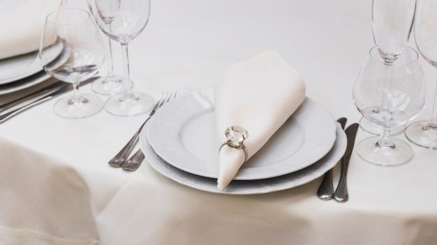Served dinner table in restaurant Free Photo
