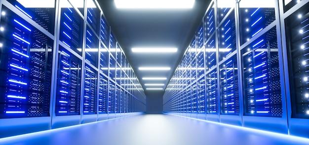 Интерьер серверной комнаты в дата-центре. 3d визуализация Premium Фотографии