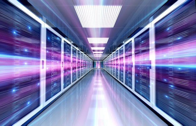 Servers data center room with bright speed light through the corridor Premium Photo