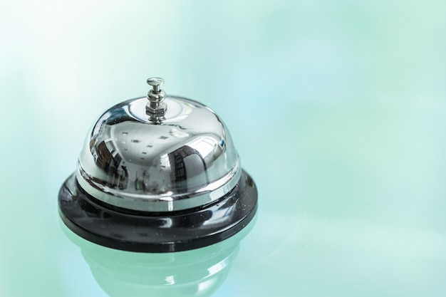 Service bell on reception in hotel or restaurant Premium Photo