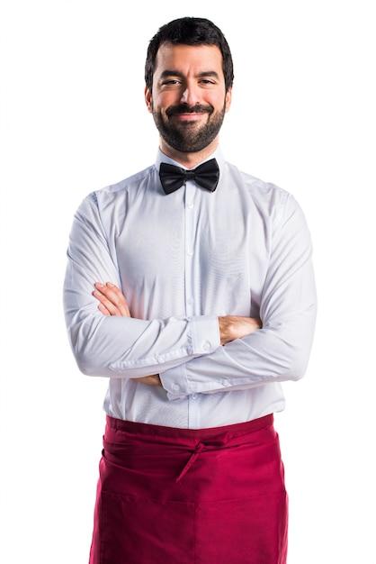 Servizio bell'aspetto maschio del cameriere Foto Gratuite