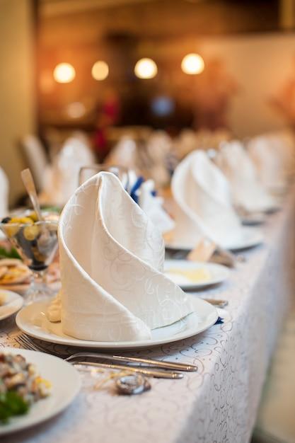 Serving wedding table at celebration Premium Photo