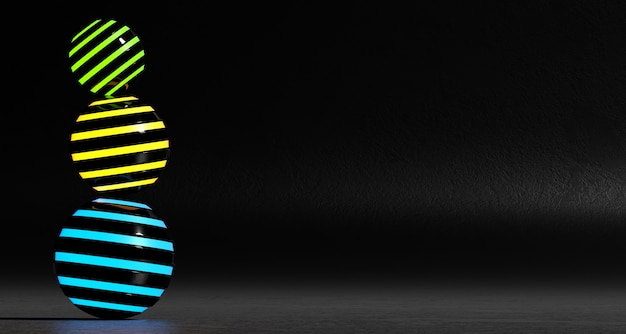 A set of abstract colored spheres on a dark background. 3d rendering. Premium Photo