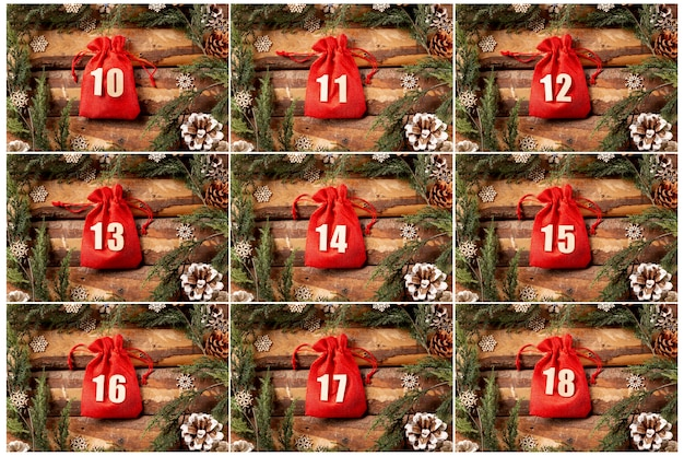 Set of advent calendar collection view Free Photo
