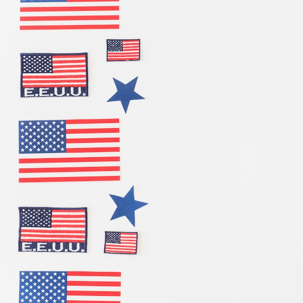 Set of american flags on light background Free Photo