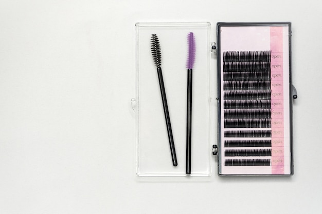Set of artificial eyelashes for extensions. Premium Photo