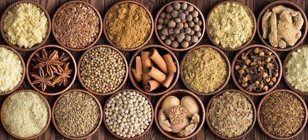 Set as background spices, seasonings for food of various cuisine Premium Photo