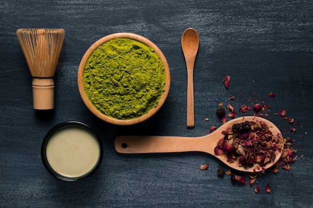 Set of asian tea matcha utensils Free Photo
