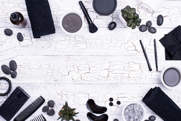 Set of black charcoal detox cosmetics Premium Photo