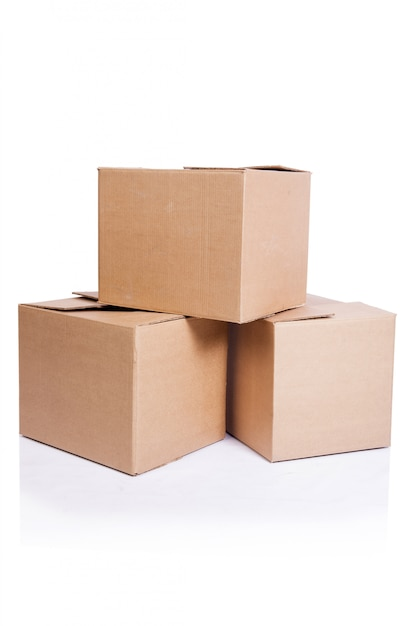 Set of boxes isolated on white Premium Photo