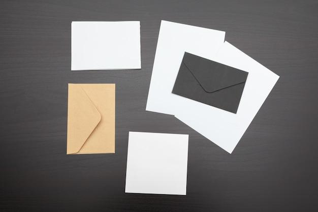 Set of branding elements on deep black, stationery Premium Photo