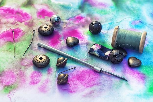 Set of bright beads Premium Photo