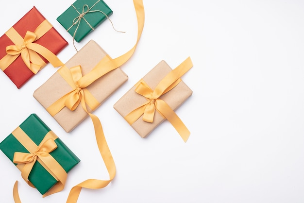 Set of christmas gifts on white background Free Photo