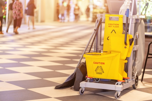 Set of cleaning equipment in the terminal 21 pattaya shopping mall, thailand Premium Photo