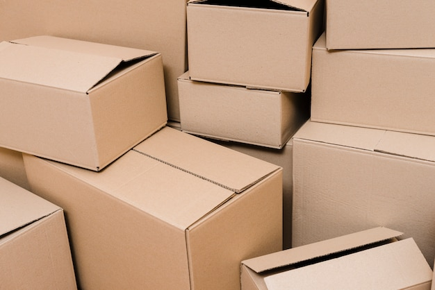 Set of closed cardboard boxes Free Photo