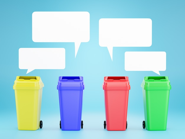 Set of colored bins for recycling Premium Photo